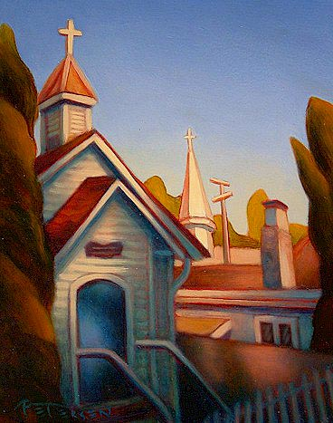 "SOLD ""Steeples, Crescent Beach"" 8 x 10 - oil $525 Framed"