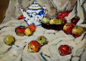 "SOLD ""Still Life,"" by Min Ma 5 x 7 – acrylic $390 Unframed"