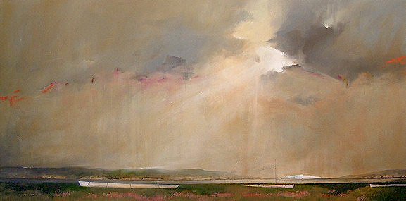 "SOLD ""Storm Clearing Over Trinity Bay"" 36 x 72 - acrylic $5500 Unframed"