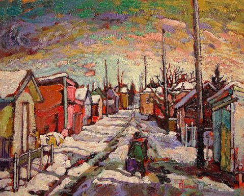 "SOLD ""Strathcona in February"" 8 x 10 - oil $425 Framed"