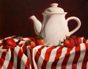 "SOLD ""Strawberry Tea"" by Mickie Acierno 11 x 14 - oil $1130 Framed ($1145 with custom show frame)"