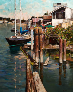 "SOLD ""Summer at La Conner,"" by Min Ma 24 x 30 – acrylic $3860 Unframed"
