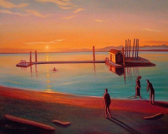 "SOLD ""Summer Evening, Crescent Beach"" 16 x 20 - oil $1150 Framed"
