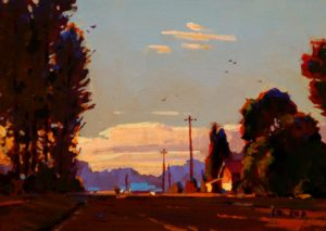"SOLD ""Summer Evening Light,"" by Min Ma 5 x 7 – acrylic $420 Framed"