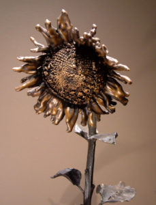 "SOLD ""September Sunflower No. 1"" by Nicola Prinsen Bronze - 6' 11"" height $8900"