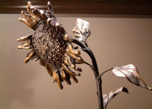 "SOLD ""September Sunflower No. 10"" by Nicola Prinsen Bronze - 7' height $9900"