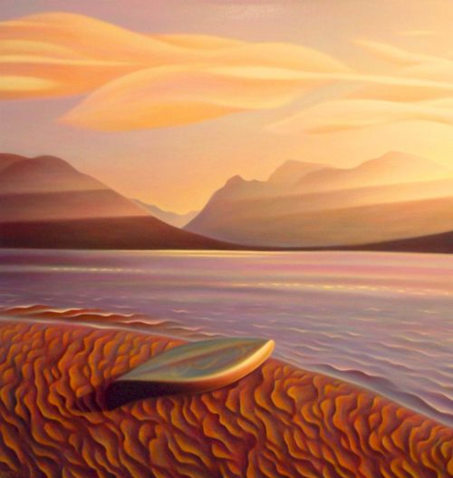 "SOLD ""Sunrise, Murtle Lake (Wells Gray Park, B.C.)"" 46 x 48 - oil $4200 Unframed (thick canvas wrap)"