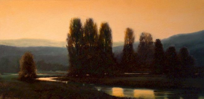 "SOLD ""Sunrise West of Harrison,"" by Renato Muccillo 10 x 20 - oil $1100 Framed"
