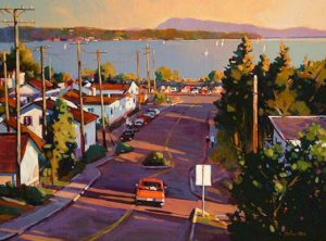 "SOLD ""Sunset at White Rock,"" by Min Ma 12 x 16 – acrylic $1255 Framed"