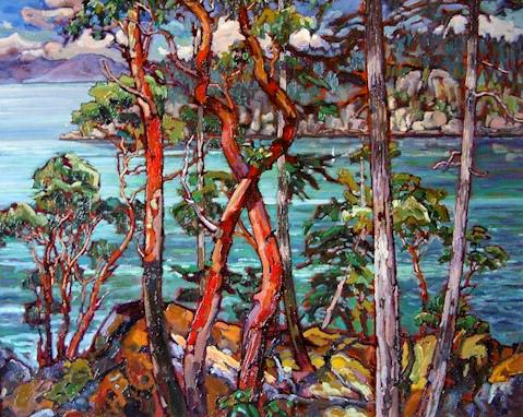 "SOLD ""Sunshine Coast Revisited"" 24 x 30 - oil $2000 Framed"