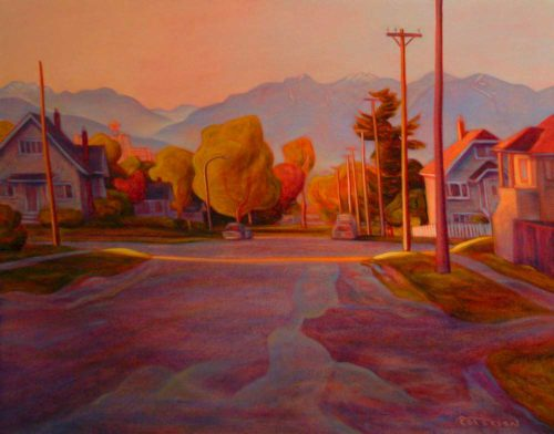 "SOLD ""Sun Stripe, Vancouver (17th and Manitoba St.),"" by Niels Petersen 22 x 28 - oil $1940 Framed"