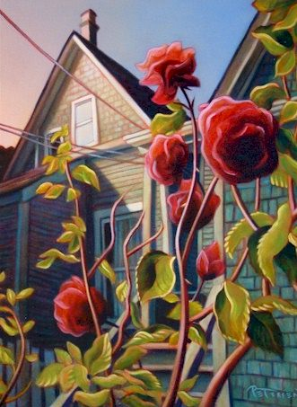 "SOLD ""Susie's Roses"" 16 x 20 - oil $1150 Framed"
