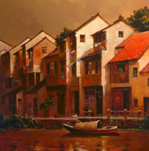 "SOLD ""Suzhou Townhouse,"" by Min Ma 48 x 48 - acrylic $7700 Unframed (thick canvas wrap)"