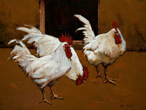 "SOLD ""Three Brothers,"" by Min Ma 12 x 16 – acrylic $1255 Framed"