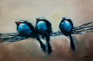 """SOLD """"Three's a Crowd""""  by Harold Braul 20 x 30 – oil $1140 (thick canvas wrap without frame)"""