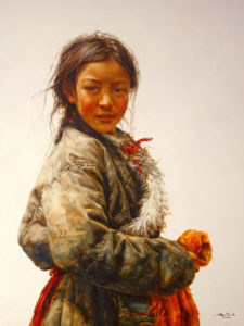 "SOLD ""Tibetan Jewel"" by Donna Zhang 30 x 40 - oil $6550 Framed ($7260 with custom show frame)"