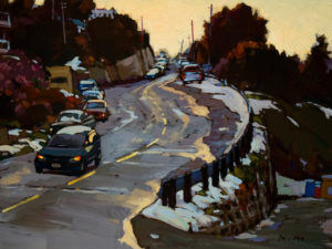 "SOLD ""Up Hill,"" by Min Ma 9 x 12 – acrylic $755 Framed"