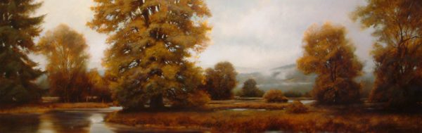 "SOLD ""Valley Slough"" by Renato Muccillo 23 x 72 - oil $6500 Framed ($7600 with custom show frame)"