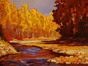 "SOLD ""View Along the River,"" by Min Ma 9 x 12 – acrylic $755 Framed"
