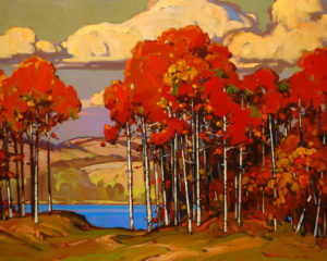 "SOLD ""View Near Kamloops,"" by Min Ma 24 x 30 – acrylic $3785 Framed"