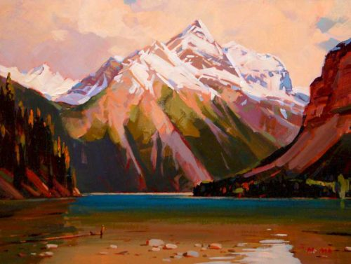 "SOLD ""View of Kinney Lake,"" by Min Ma 9 x 12 - acrylic $755 Framed"