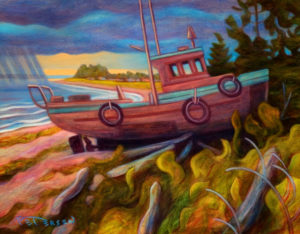 """SOLD """"Waiting for the Fish"""" by Niels Petersen 11 x 14 – oil $815 Framed"""