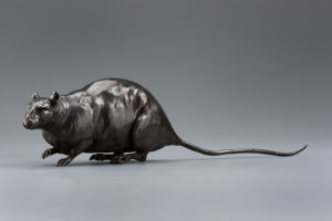 "SOLD ""Walking Rat"" by Nicola Prinsen Bronze - 4 1/2"" height x 19"" length incl. tail - No. 1 of edition of 15 $2200"