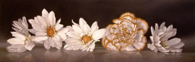 "SOLD ""Wallflowers"" by Mickie Acierno 12 x 36 - oil $2510 Framed ($2740 with custom show frame)"