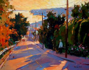 "SOLD ""Warm Afternoon in White Rock,"" by Min Ma 8 x 10 – acrylic $560 Framed"