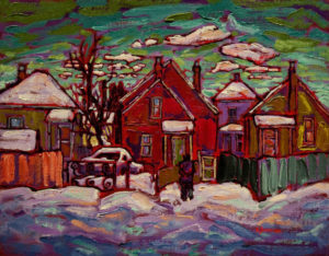 "SOLD ""Warm Neighbourliness in Strathcona #2"" 11 x 14 - oil $770 with custom show frame $750 standard frame"