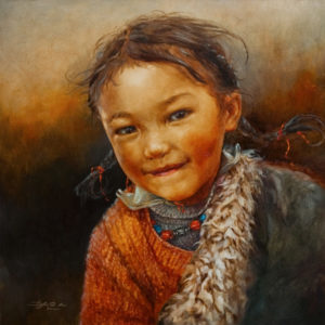 "SOLD ""Warm Smile"" 24 x 24 - oil $4330 with custom show frame $4270 standard frame"