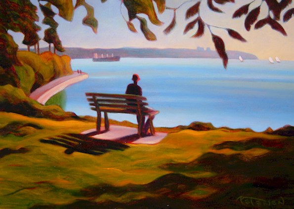 "SOLD ""Watching the Bay, Stanley Park"" 9 x 12 - oil $600 Framed"