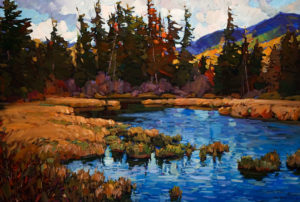 "SOLD ""Wilderness Solitude,"" by Min Ma 24 x 36 – acrylic $3990 Unframed"