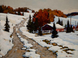 "SOLD ""Winter Road,"" by Min Ma 9 x 12 – acrylic $740 Unframed"