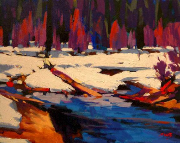 "SOLD ""Winter Stream,"" by Mike Svob 12 x 15 - oil $1060 Framed"