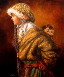 "SOLD ""Young Mother"" by Donna Zhang 30 x 36 - oil $5950 Framed ($7200 with custom show frame)"