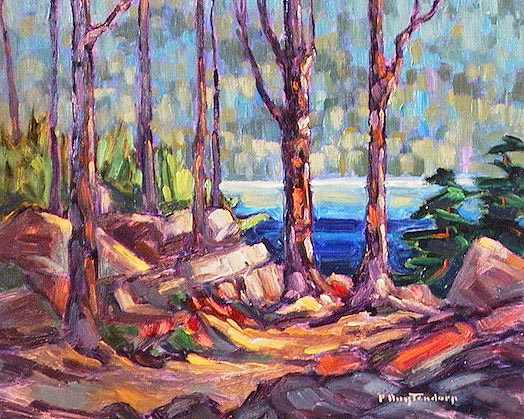 "SOLD ""Afternoon Study"" Overlooking Stave Lake from within the woods 8 x 10 - oil $435 Framed"