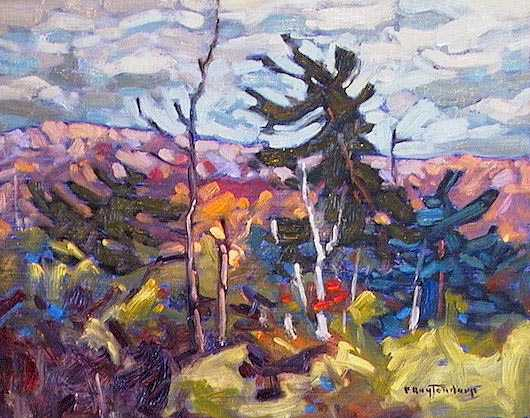 "SOLD ""Algonquin Tangle"" A bramble of assorted colours and shapes near Tea Lake 8 x 10 - oil $435 Framed"