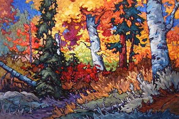 "SOLD ""Autumn Scene"" The edge of a wood during the peak of autumn 24 x 36 - oil $1580 Framed"