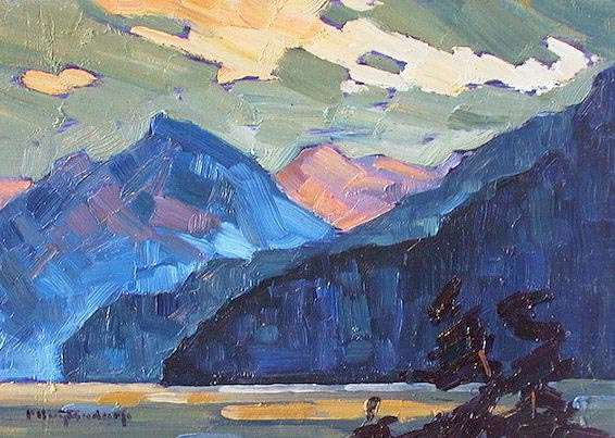 "SOLD ""Blue Mountains"" Rugged majesty at the north end of Stave Lake 5 x 7 - oil $365 Framed"