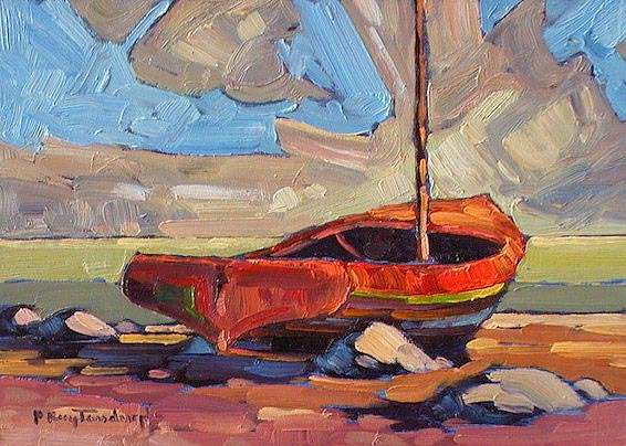 "SOLD ""Couta"" Native to Australia, originally a fish boat. Shored for the winter 5 x 7 - oil $365 Framed"