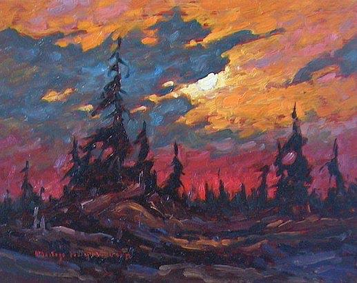 "SOLD ""Crimson Horizon"" Childhood memories of the Carberry Hills 8 x 10 - oil $435 Framed"