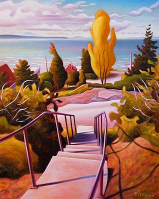 "SOLD ""Cypress Street Stairway"" 24 x 30 - oil $1750 Framed"
