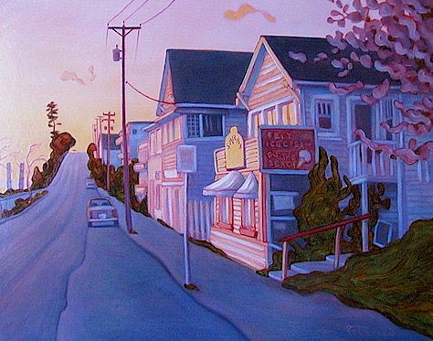 "SOLD ""East Beach Twilight, White Rock"" 14 x 18 - oil $925 Framed"