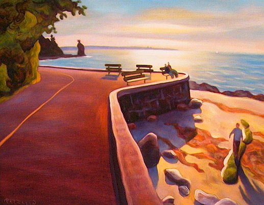 "SOLD ""Four Benches, Stanley Park Seawall, Vancouver"" 14 x 18 - oil $925 Framed"