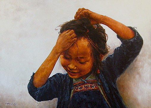 "SOLD ""Getting Ready"" 32 x 44 - oil $7000 Framed"