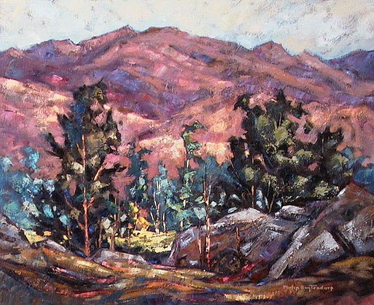 "SOLD ""Hidden Meadow"" A secluded clearing in mountainous terrain 16 x 20 - oil $935 Framed"