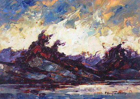 "SOLD ""Increasing Wind"" The wind-ravaged clouds made the distant sky like green fire 5 x 7 - oil $365 Framed"