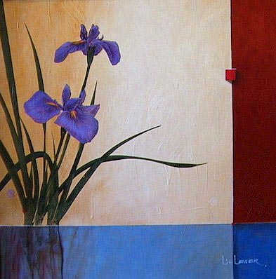 "SOLD ""Iris Reflections"" 24 x 24 - acrylic $2200 Framed"