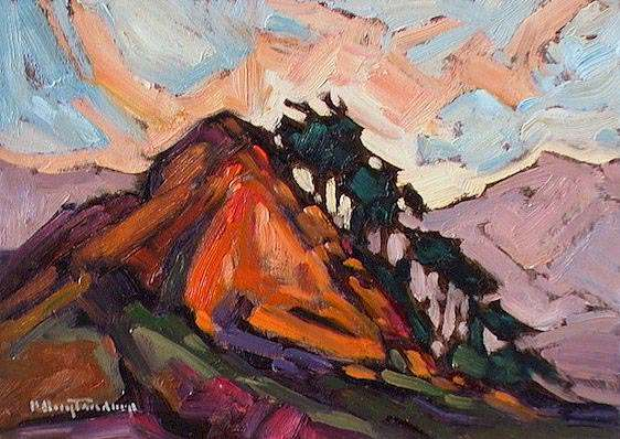 "SOLD ""Knoll"" At the gate of the Stave River 5 x 7 - oil $365 Framed"